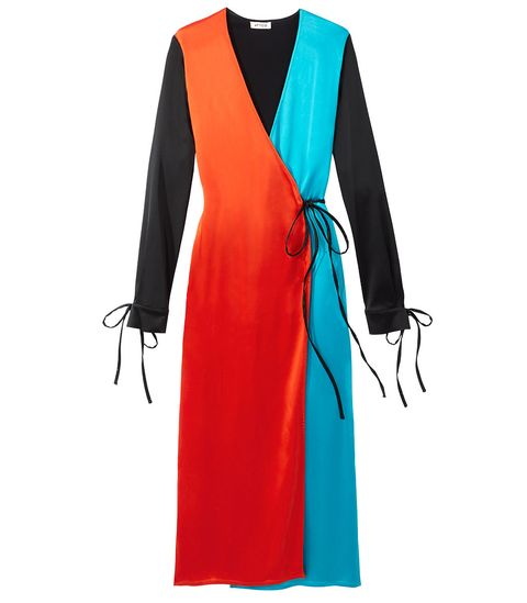 Clothing, Turquoise, Dress, Outerwear, Orange, Formal wear, Electric blue, Robe, Sleeve, Day dress,