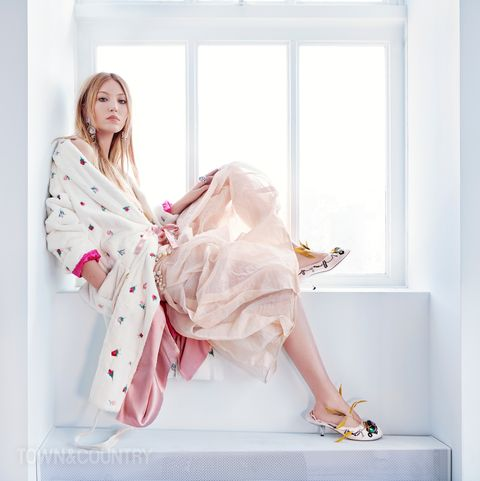 Pink, White, Clothing, Robe, Nightwear, Skin, Beauty, Dress, Design, Outerwear,