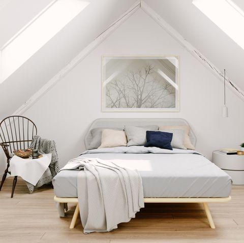 scandinavian style attic bedroom interior