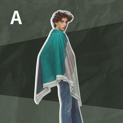 (a)披在肩上包裹自己