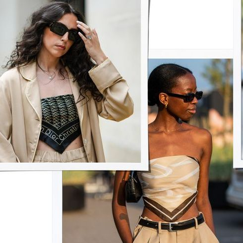 four women wearing scarf tops from street style