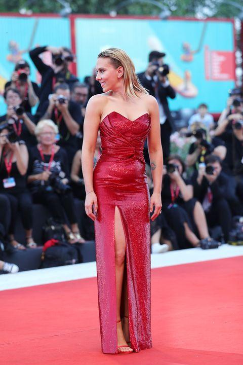 Red carpet, Carpet, Fashion model, Clothing, Dress, Red, Fashion, Flooring, Premiere, Shoulder,