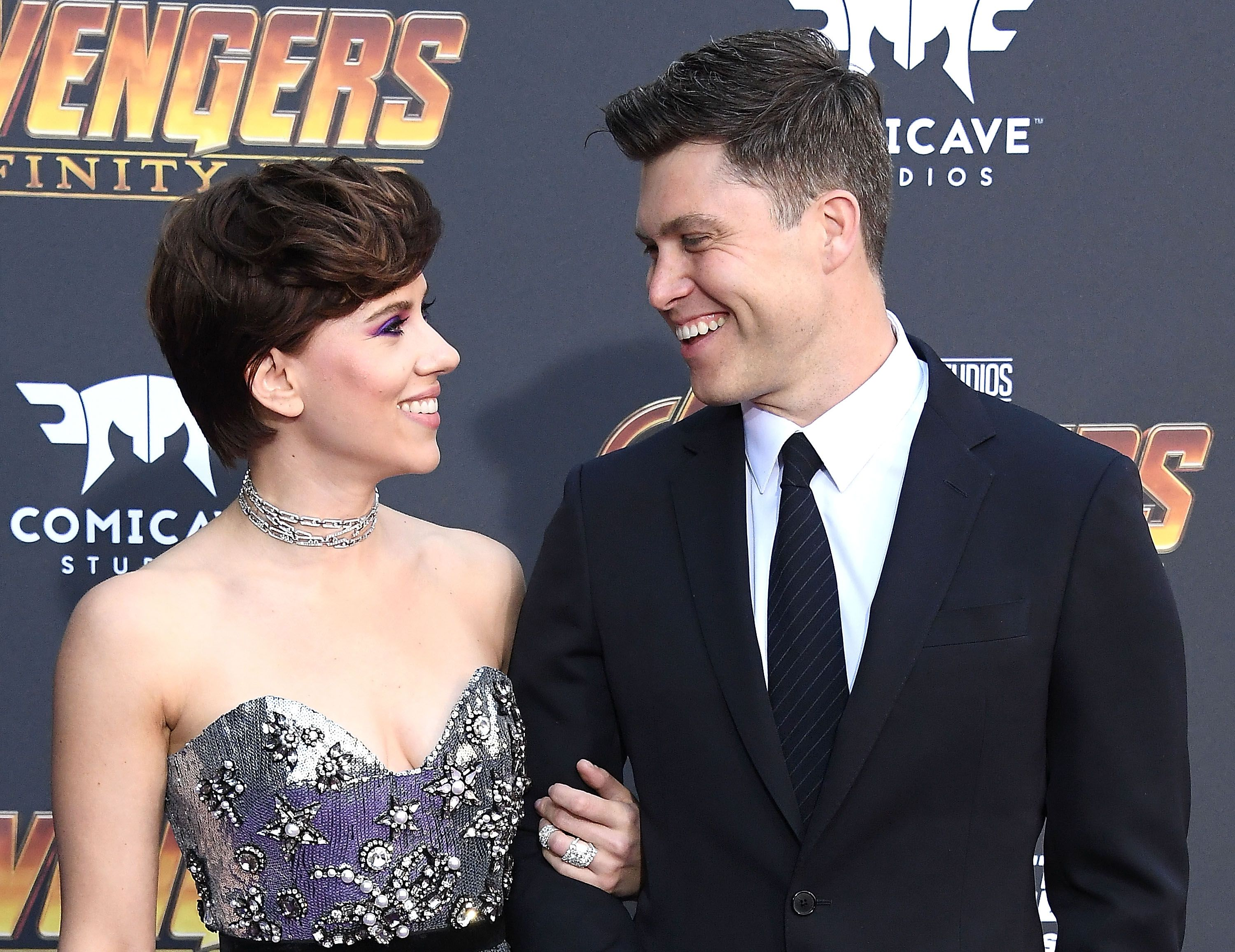 Scarlett Johansson And Boyfriend Colin Jost Make Their Red Carpet Debut Avengers Infinity War Premiere