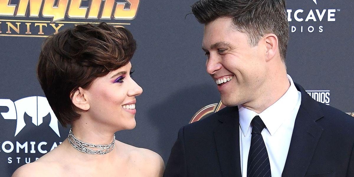 Scarlett Johansson And Boyfriend Colin Jost Make Their Red Carpet Debut Avengers Infinity War Premiere