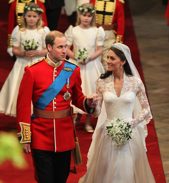 prince william l and his new wife kate, the duchess of cambridge, walk down the aisle of westminster abbey after their wedding in london on april 29, 2011     afp photo pool david jones photo credit should read david jonesafp via getty images