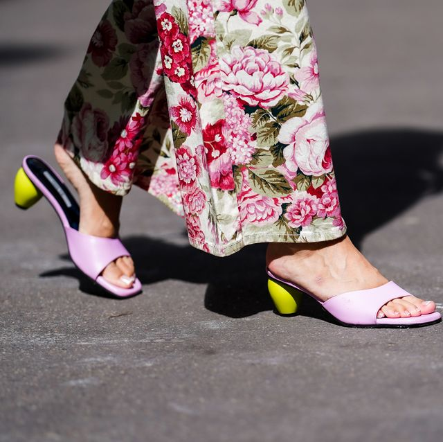 paris, france   june 15 street style photo session with gabriella berdugo wearing pink yuulie shoes, pink floral print flared pants from parosh, on june 15, 2020 in paris, france photo by edward berthelotgetty images