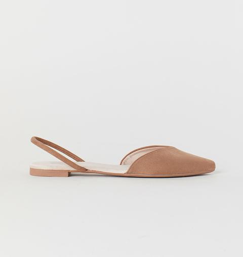 Footwear, Shoe, Slingback, Beige, Tan, Brown, Leather, Sandal, Ballet flat, Slipper,