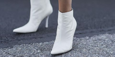 White, Footwear, Human leg, Shoe, Ankle, Joint, Leg, Calf, Fashion, Street fashion,