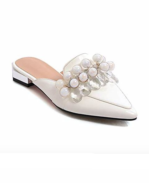 Footwear, White, Shoe, Beige, Sandal, Slingback, Slipper,
