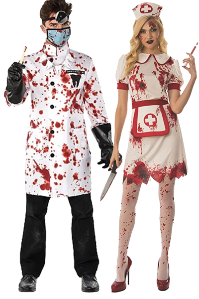 scary couples costumes  bloody nurse and doctor