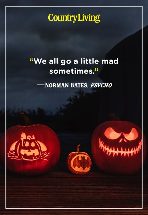 scary carved pumpkins with a scary quote from the movie psycho