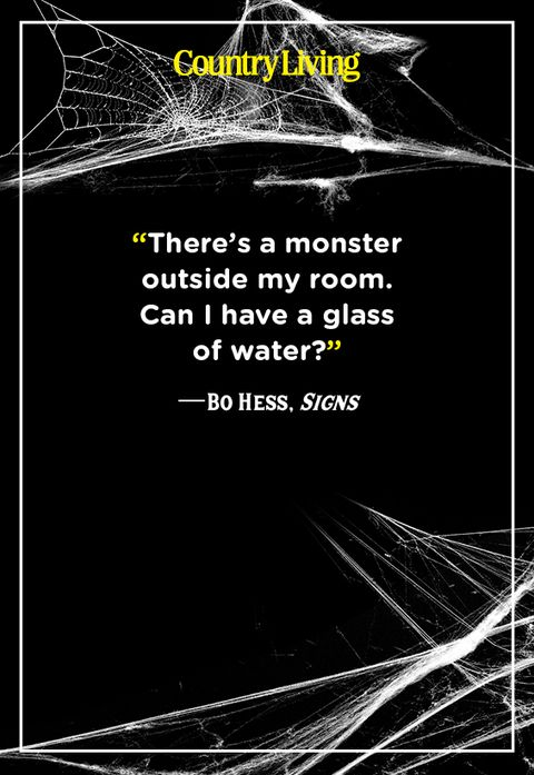 scary spider webs with a quote from the movie signs