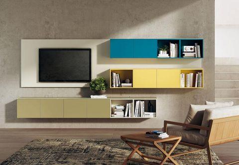 Room, Interior design, Wall, Furniture, Display device, Living room, Coffee table, Table, Floor, Flooring,