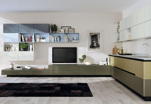 Room, Interior design, Floor, Green, Property, Home, Flooring, White, Display device, Wall,
