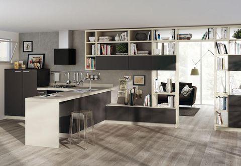 Floor, Interior design, Room, White, Flooring, Glass, Cupboard, Interior design, Kitchen appliance, Kitchen,
