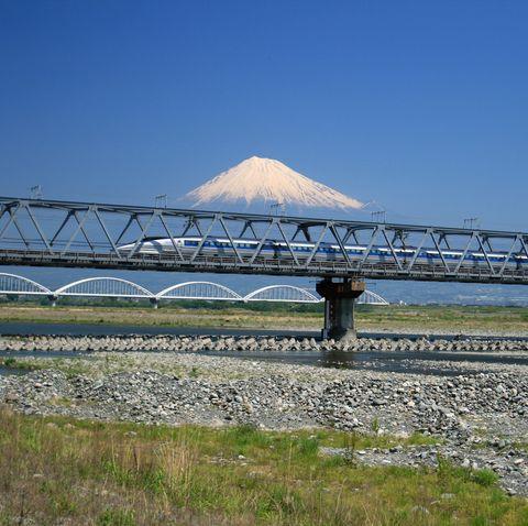 Scenic photograph of Shinkansen passing in Fujisan Japan
