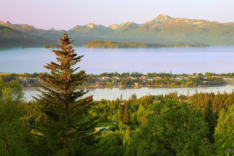 scenic view of lake and mountains against sky,homer,alaska,united states,usa