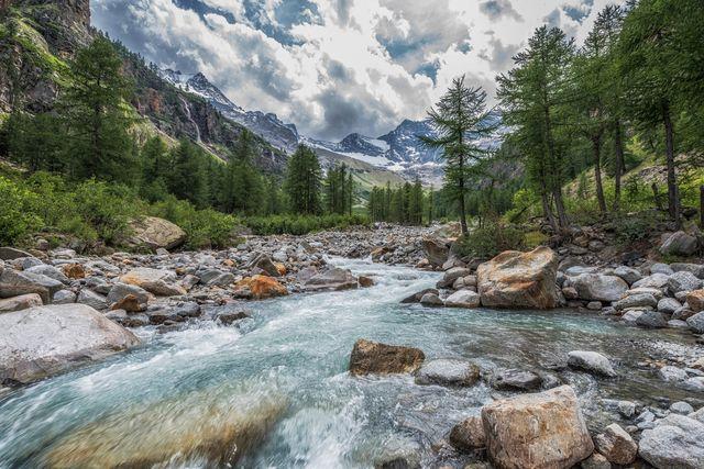 vista panoramica della valle di cogne, con fiume e conifere