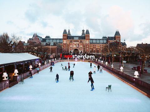 Ice rink, Ice skating, Winter, Skating, Snow, Building, Ice, Recreation, Leisure, Winter sport,