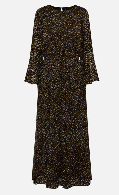 Clothing, Dress, Day dress, Sleeve, Brown, Outerwear, Coat, Overcoat, Cocktail dress, Pattern,