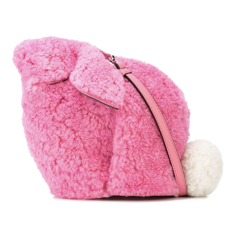 Pink, Fur, Plush, Beanie, Bag, Coin purse, Magenta, Headgear, Textile, Wool,
