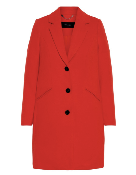 Clothing, Outerwear, Coat, Red, Overcoat, Sleeve, Jacket, Trench coat, Button, Collar,