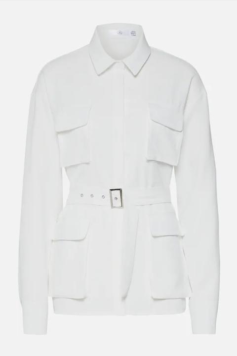 Clothing, White, Outerwear, Sleeve, Jacket, Collar, Blazer, Pocket, Beige, Button,