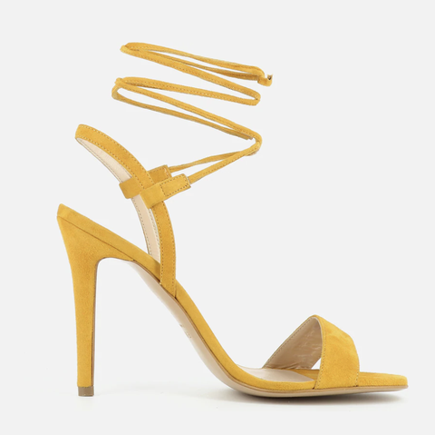 Footwear, High heels, Yellow, Sandal, Shoe, Slingback, Basic pump,
