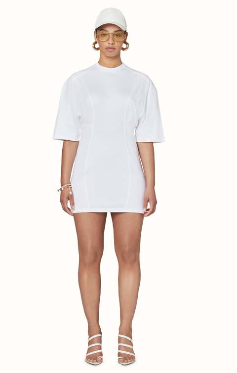 Clothing, White, Shoulder, Dress, Sleeve, Neck, Fashion, Footwear, Joint, Pocket,