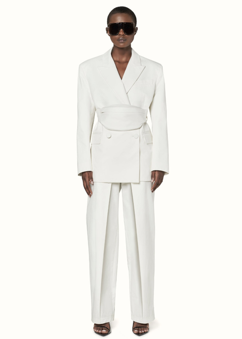 Clothing, White, Suit, Formal wear, Outerwear, Pantsuit, Neck, Tuxedo, Trousers, Blazer,