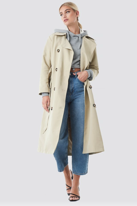 Clothing, Trench coat, Coat, Outerwear, Beige, Overcoat, Khaki, Jeans, Fashion, Denim,