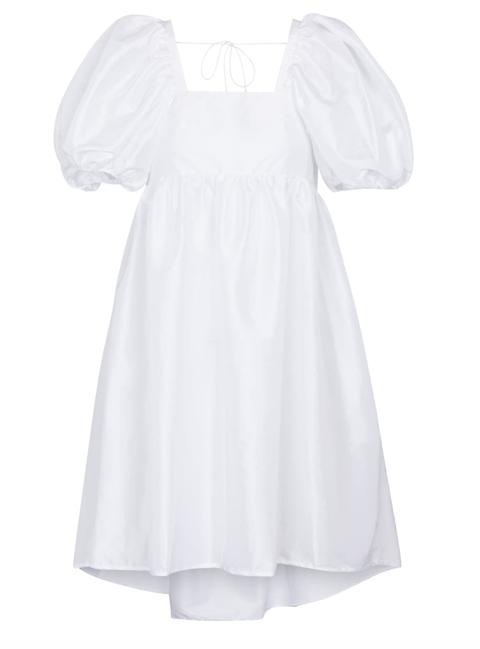 cecilie bahnsen witte lange jurk met pofmouwen