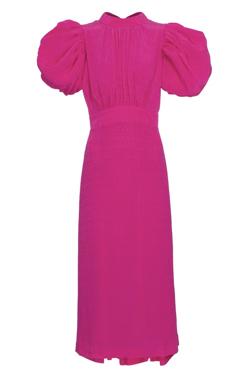 rotate birger christensen lange jurk roze pofmouw