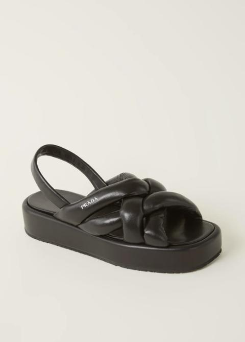 prada gewatteerde sandaal van leer zwart