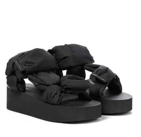 redv nylon platform sandalen zwart