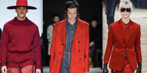 Clothing, Red, Fashion, Fashion model, Coat, Runway, Outerwear, Overcoat, Collar, Fashion show,