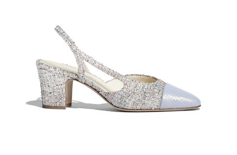 Footwear, Slingback, Sandal, Shoe, Bridal shoe, High heels, Glitter, Beige, Silver, Dress shoe,