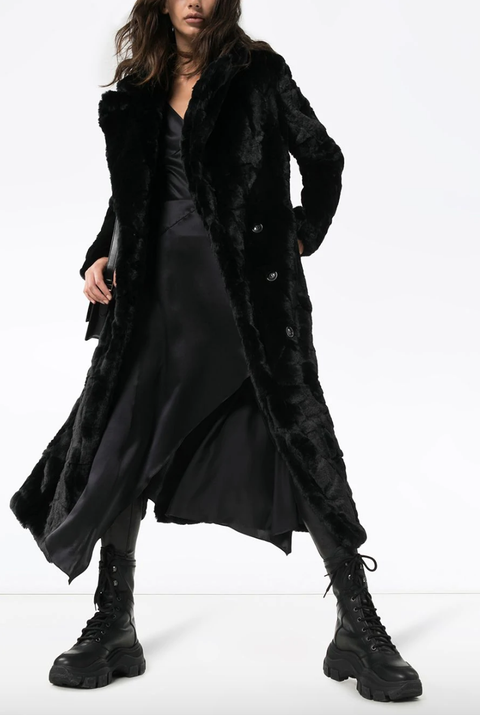 Clothing, Fashion model, Black, Outerwear, Fur, Fashion, Coat, Overcoat, Thigh, Leg,