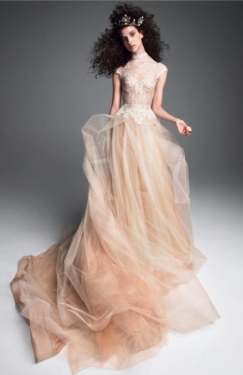 Gown, Fashion model, Clothing, Dress, Wedding dress, Hair, Shoulder, Bridal party dress, Fashion, Haute couture,