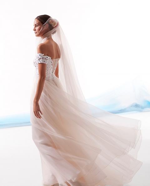 Wedding dress, Gown, Dress, Clothing, Shoulder, White, Bridal clothing, Bridal accessory, Bridal party dress, Bride,
