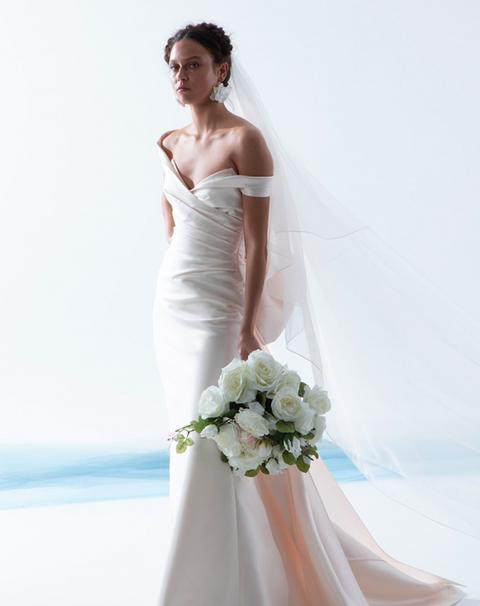 Gown, Wedding dress, Bride, Dress, Clothing, Photograph, Bridal clothing, White, Bridal party dress, Shoulder,
