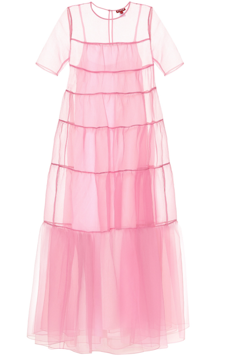 Clothing, Pink, Dress, Day dress, Product, Sleeve, A-line, Ruffle, Pattern, Textile,
