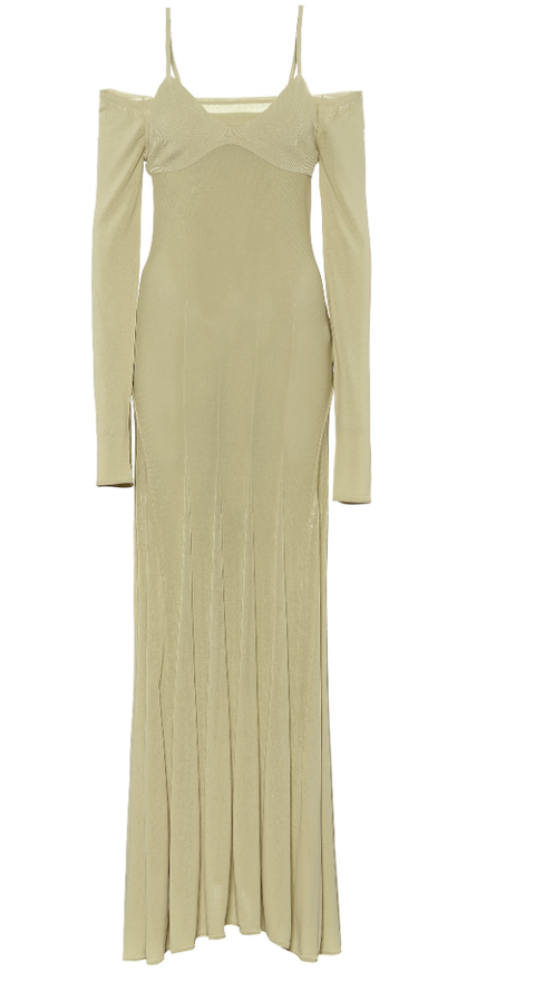Clothing, Dress, Day dress, Shoulder, Gown, Sleeve, Yellow, Cocktail dress, Neck, Sheath dress,