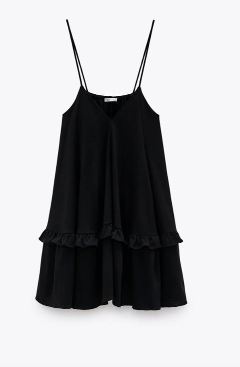 Clothing, Black, camisoles, Ruffle, Dress, Outerwear, Neck, Blouse, Fashion accessory, Little black dress,