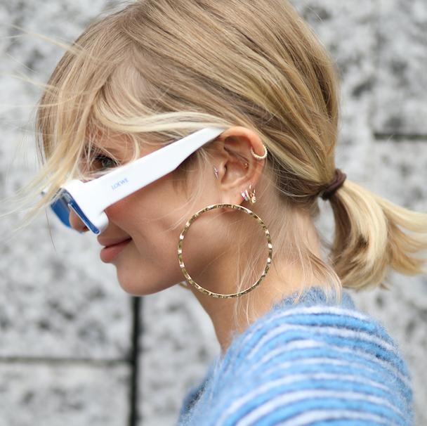 Ear, Earrings, Hairstyle, Jewellery, Body piercing, Fashion accessory, Style, Body jewelry, Beauty, Hair accessory,