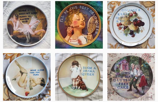 Human, Dishware, Serveware, Plate, Porcelain, Circle, Ceramic, Vintage clothing, Platter, Creative arts,