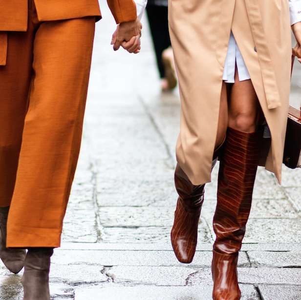 Clothing, Footwear, Leg, Brown, Sleeve, Human leg, Textile, Joint, Outerwear, Orange,