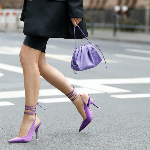 Clothing, Footwear, Human leg, Purple, Textile, Bag, Joint, Pink, Lavender, Style,