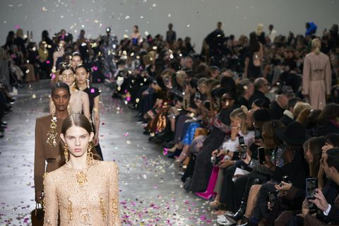 People, Fashion, Runway, Crowd, Fashion show, Event, Audience, Fashion design, Spring, Haute couture,