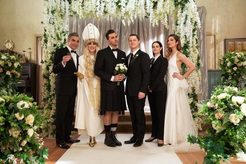 Schitt's Creek cast at David and Patrick's wedding at the end of season 6